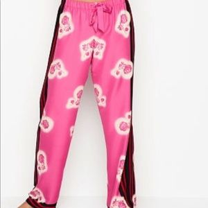 Victoria secret satin pj pants pink floral xl reg